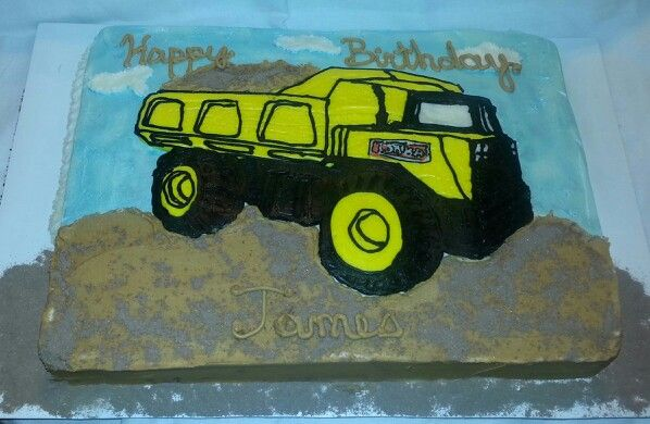 Icing transfer Tonka dump truck birthday cake