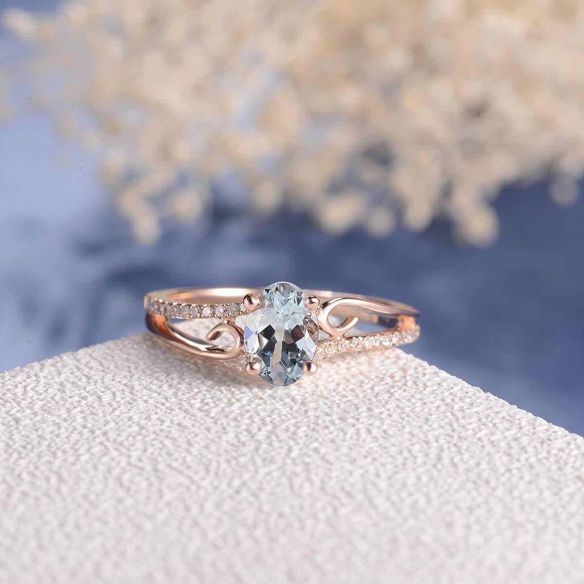 Vine Ring Aquamarine Engagement Ring White Gold Women