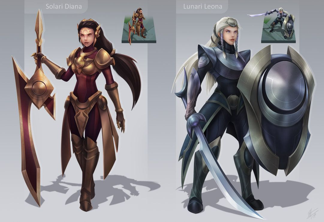 Solari Diana And Lunari Leona League Of Legends Skin Concept By