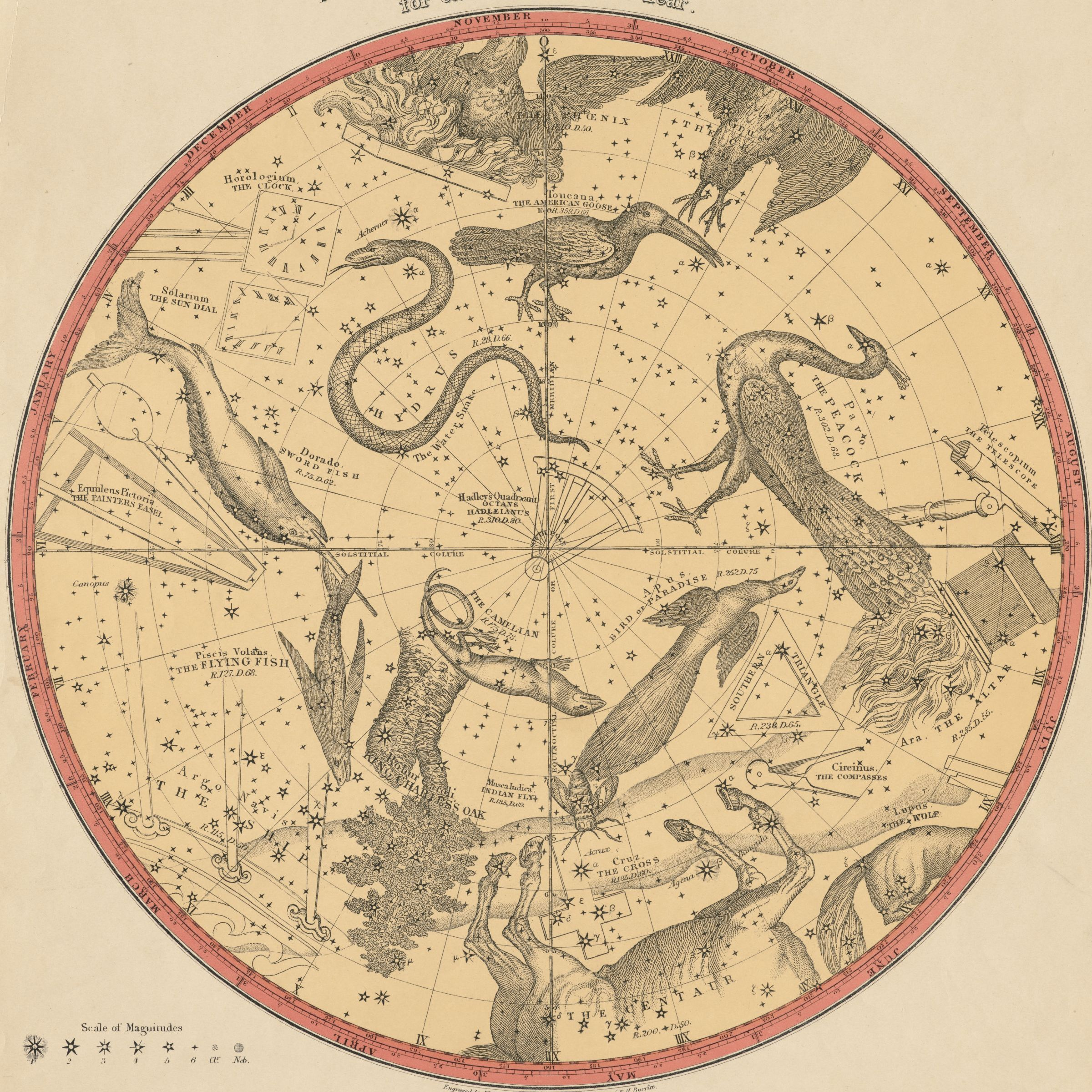 Elijah Burritt Atlas Of The Heavens 1856 Carte Du Ciel Dessin