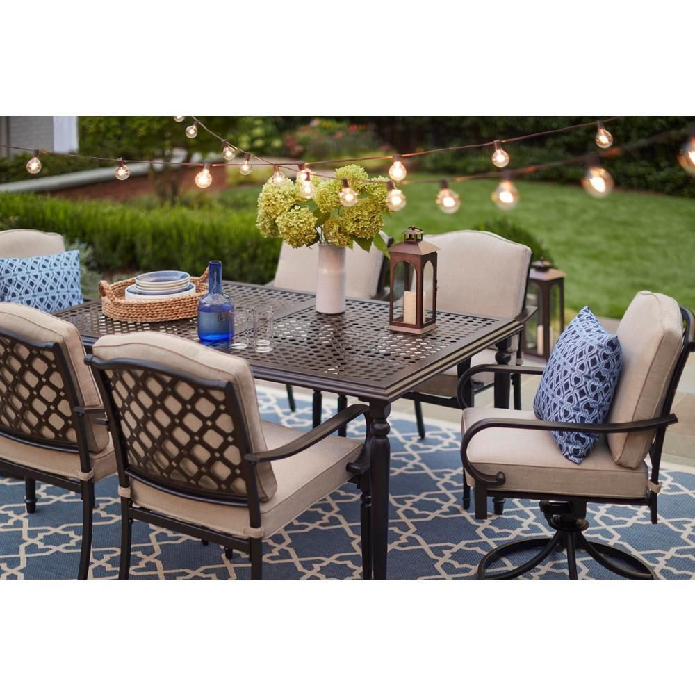 Hampton Bay Laurel Oaks Dark Brown 7 Piece Outdoor Dining Set With Beige Cushions 525 0200 000 Patio Dining Furniture Outdoor Dining Furniture Outdoor Dining