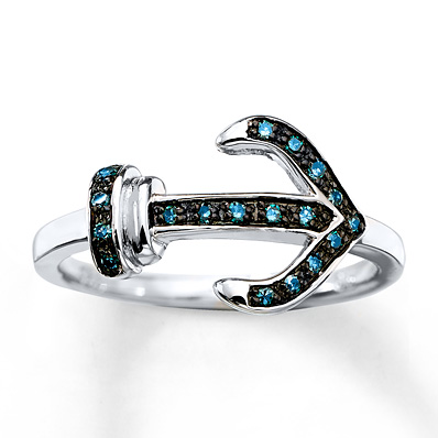 Artistry Diamonds Anchor Bracelet Blue Diamonds Sterling Silver 2xLhVRqRW