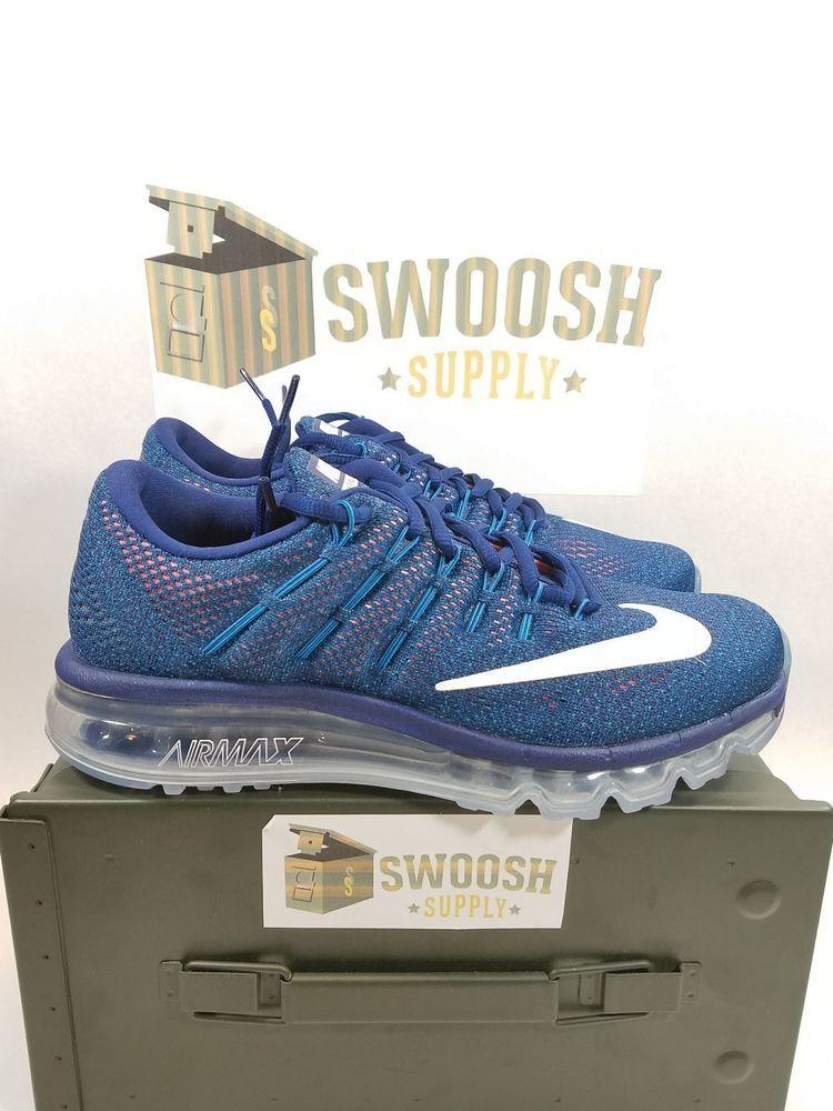 reputable site 2fe2f 4c5ea Nike Air Max 2016 Running Shoes Loyal Blue Summit White SZ 8 806771 411