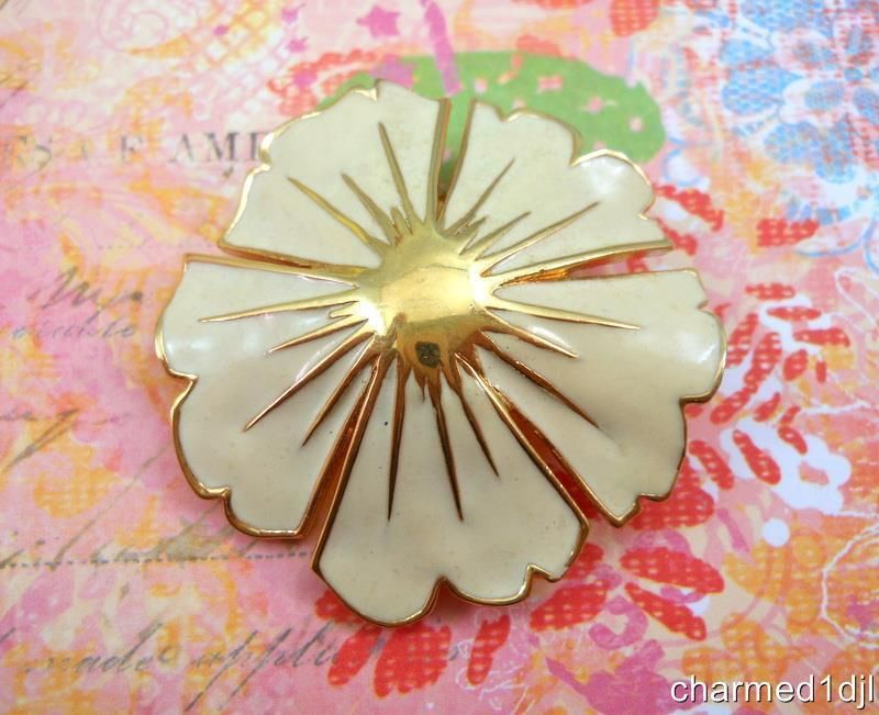 Vtg RARE Monet Enamel Flower Brooch Pin Cream Beige Enamel Gold Plated 1 75 034 D | eBay