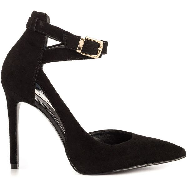 Guess Footwear Women's Ambelu - Blk Suede ($100) ❤ liked on Polyvore featuring shoes, pumps, heels, black, black stiletto pumps, black pointed toe pumps, black stilettos, black ankle strap pumps y pointy toe pumps