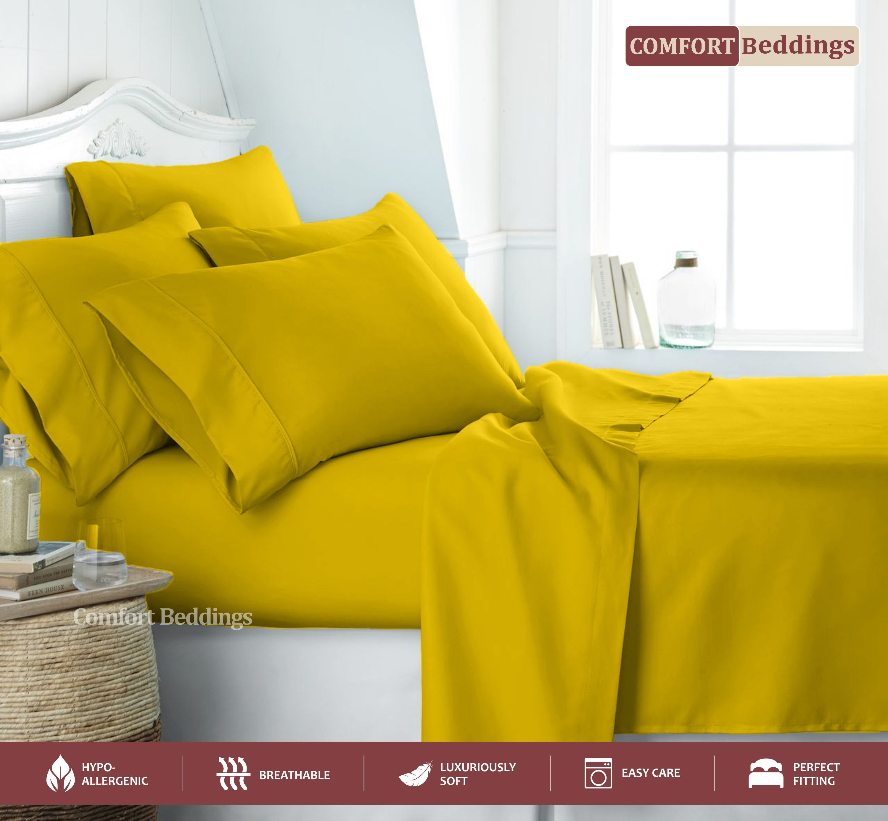 Egyptian Cotton Queen Sheet Set Is An Amazing Addition To The Bedroom Because They Are Very Relaxed And Rob Cotton Sheet Sets Deep Pocket Sheets Bed Sheet Sets