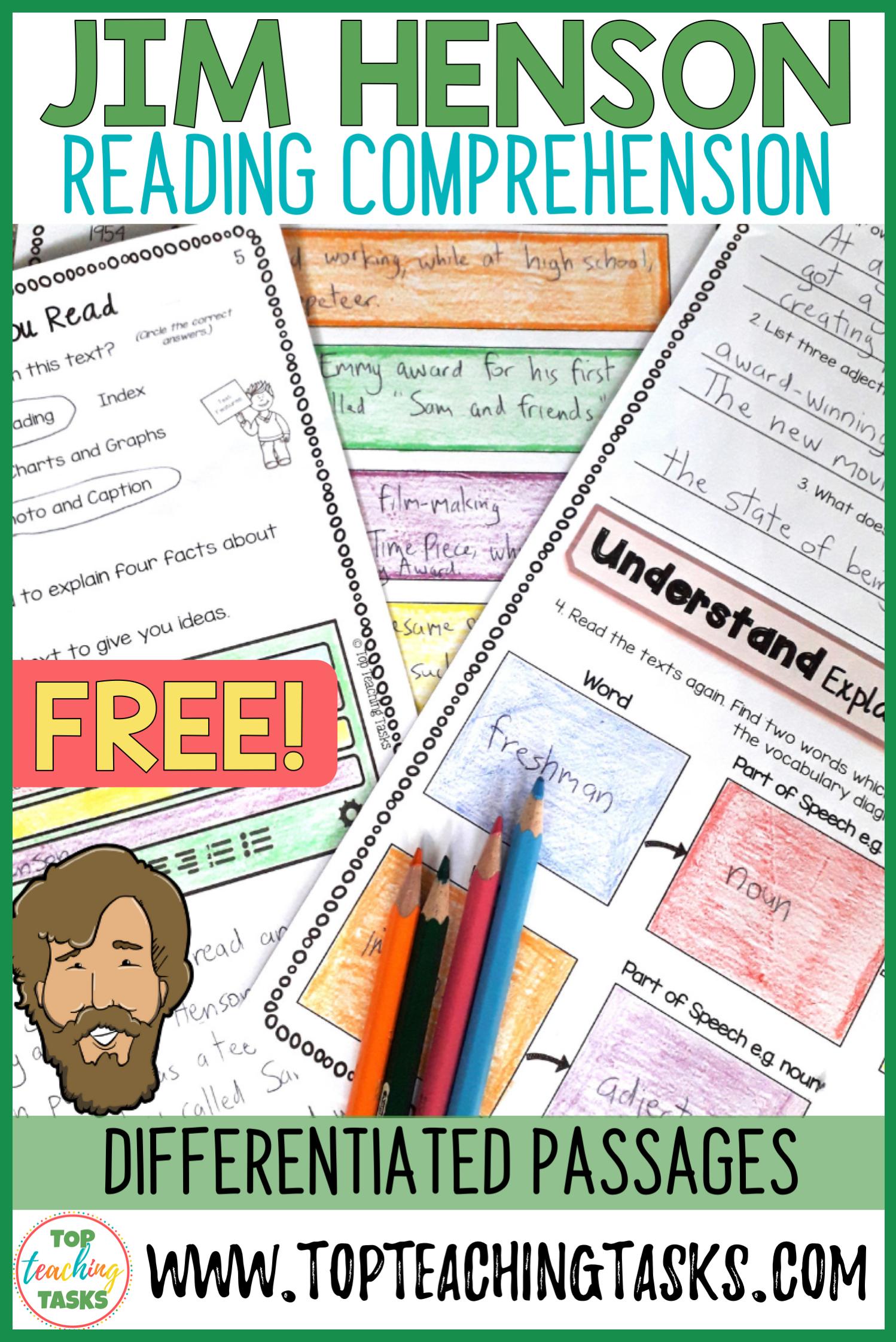 Jim Henson Reading Comprehension Activities Free Resource