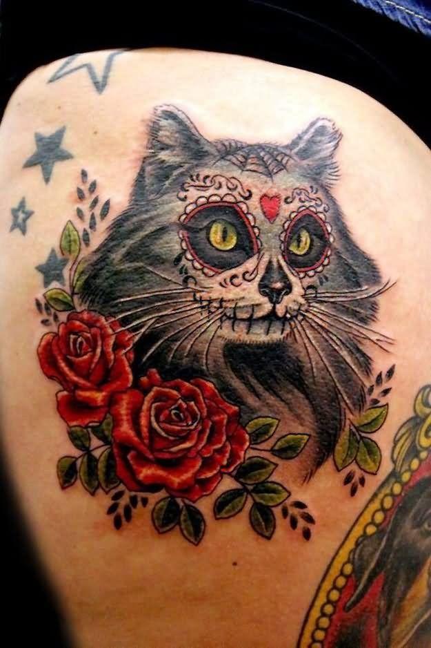 Dia De Los Muertos Cat With Roses Tattoo Design Blackpen Draw