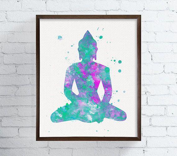 Yoga Buddha Watercolor Zen Wall Decor Meditation Art