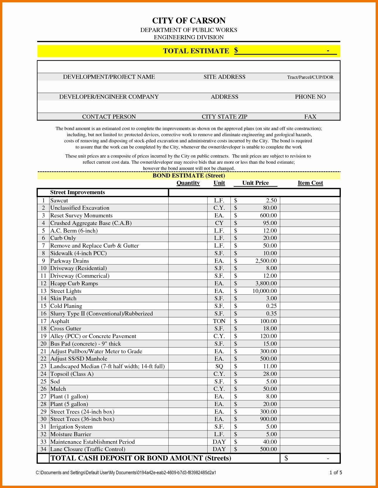 Bid Template for Contractors Fresh Professional Estimate