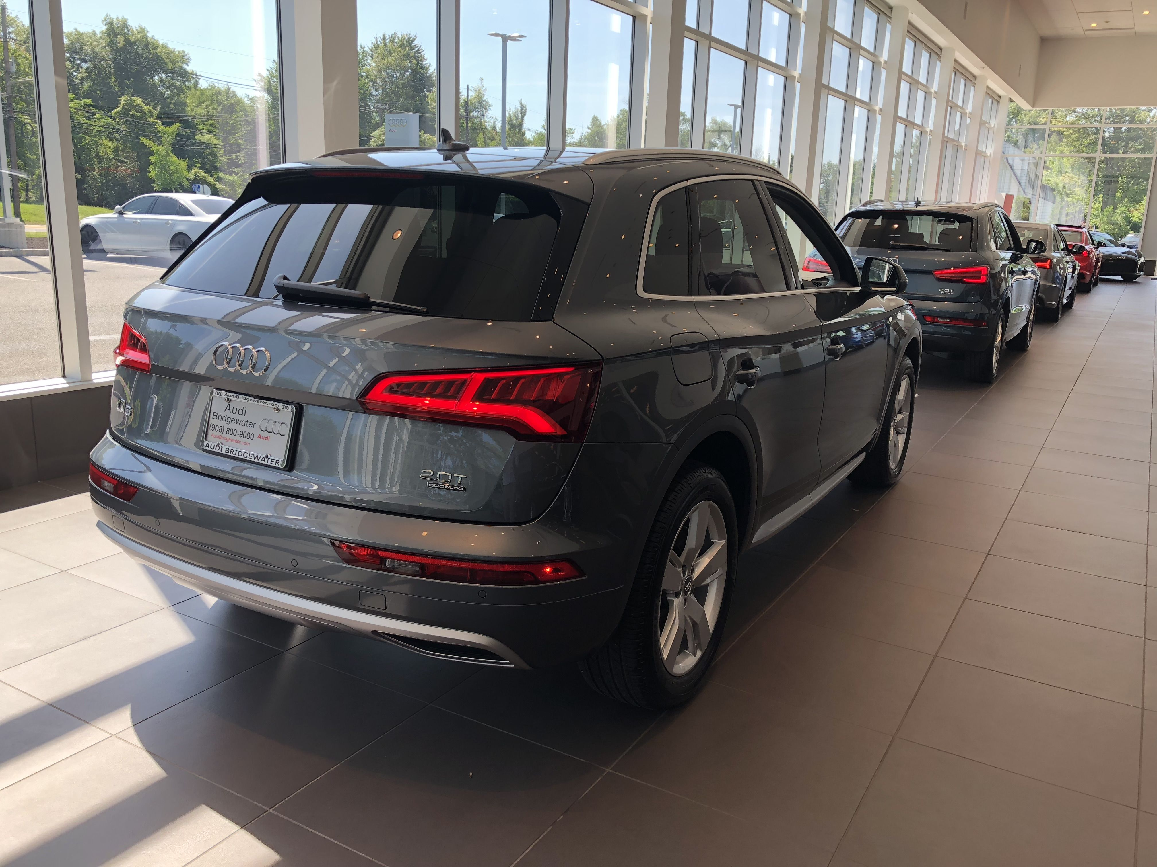 Rear Angled View Of The 2018 Audi Q5 In Monsoon Grey Metallic