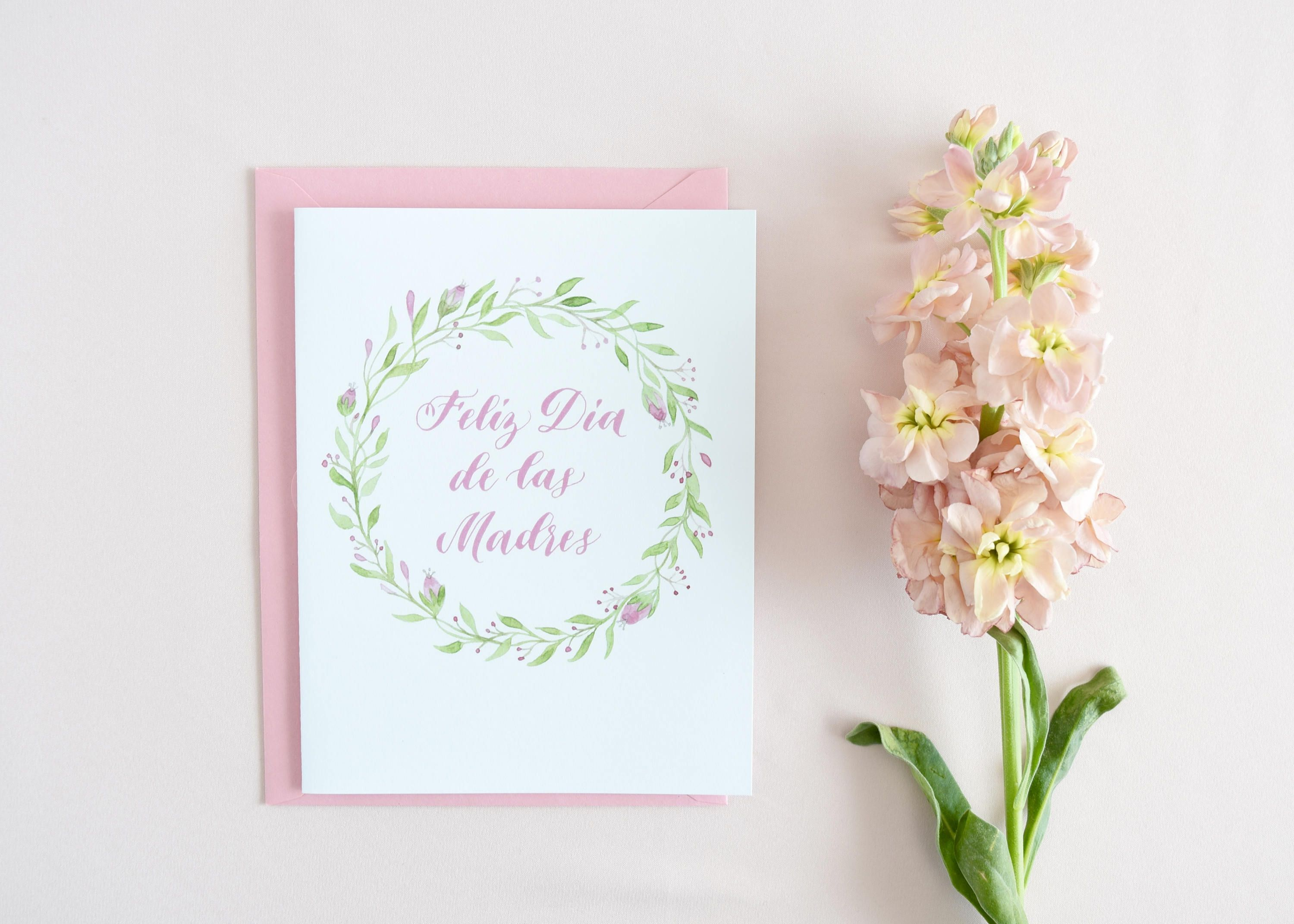 Feliz Dia De Las Madres Mother S Day Card Watercolor Calligraphy Mothers Gift Gifts For Her Pink Envelope