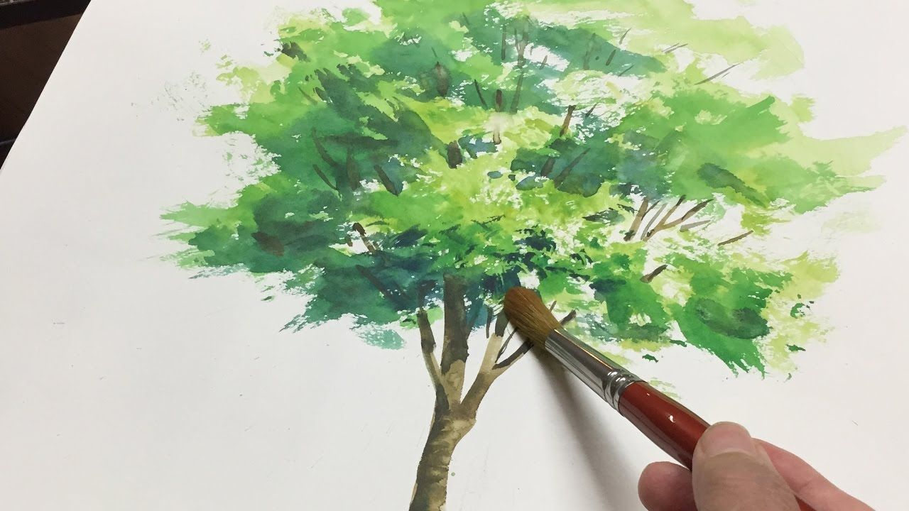 A Simple Tree 5 Minute Watercolor Tips Tree Painting Easy