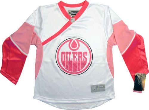 25df321dc ... reebok nhl edmonton oilers pink glitter hockey jersey girl youth medium  10 12 ...