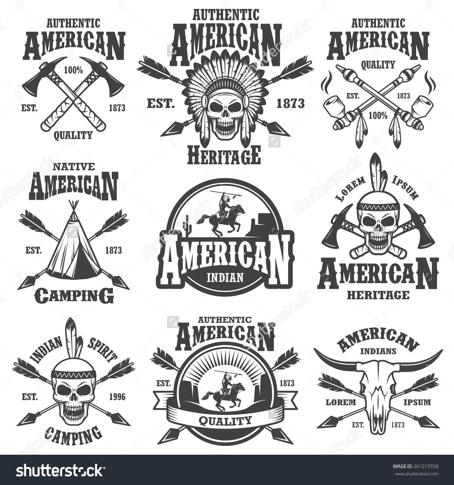 Set of american indian emblems labels badges logos and designed set of american indian emblems labels badges logos and designed elements wild biocorpaavc