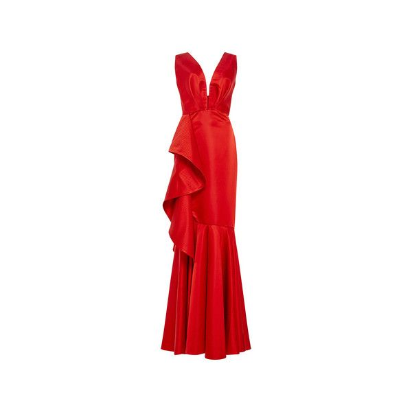 Johanna Ortiz Princess Victoria Mermaid Gown (2,625 CAD) ❤ liked on Polyvore featuring dresses, gowns, gown, v neck dress, sleeveless dress, red evening gowns, sleeveless v neck dress and v-neck dresses