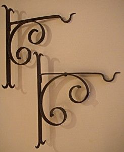 #5755B Pair of unusual wrought iron brackets. 10 3/4″H x 9″D