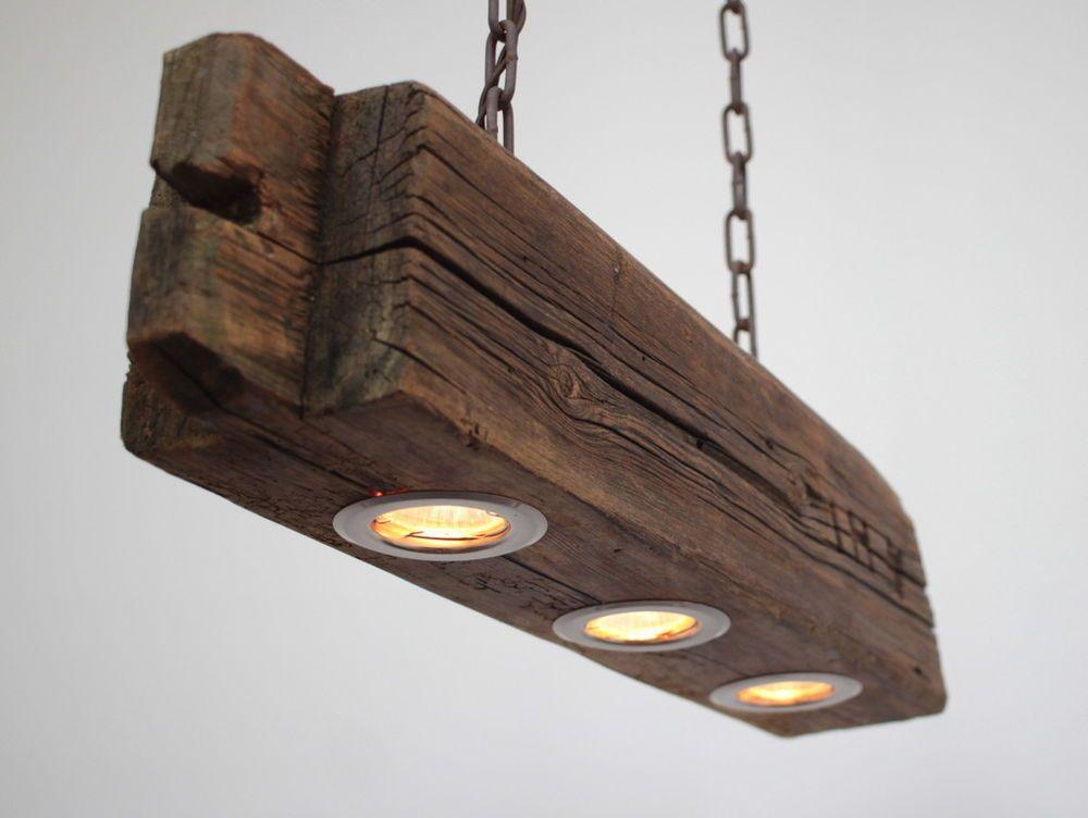 Hängelampe, Deckenlampe, Lampe, rustikal, Holz, Holzlampe ...