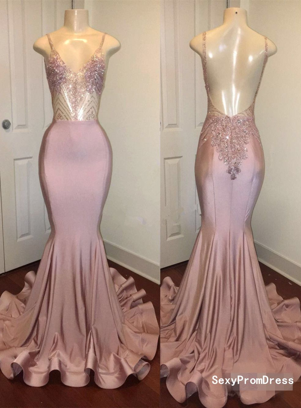Newest pink beads spaghetti strap prom dressmermaid prom dresshigh