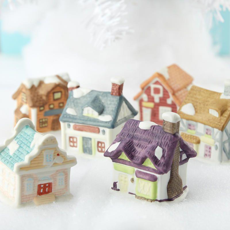 Miniature Snowy Village Houses Fairy Garden Supplies Village