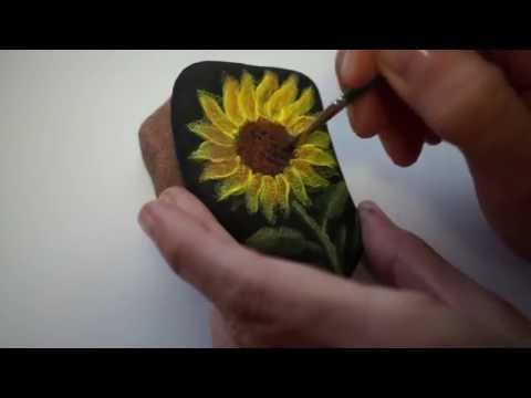 Acrylic Painting On Stone Sunflower How To Paint On Rock Pebble Acrylmalerei Sonnenblume Youtube Painting Rock Malovani