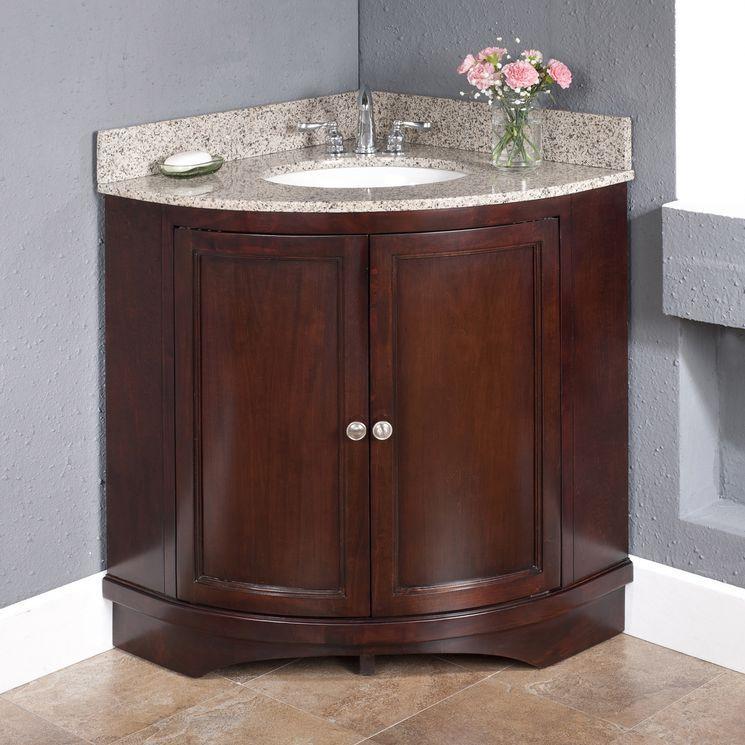 Corner 38 vanity set with backsplashes remodeling ideas - Corner vanities for small bathrooms ...