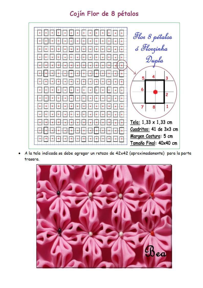Cojín Flor de 8 pétalos.doc | cojines y colchas | Pinterest | Petalo ...