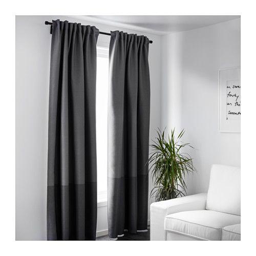 MARJUN 2 Gardinenschals (verdunk), grau 145x300 cm grau - gardine für schlafzimmer