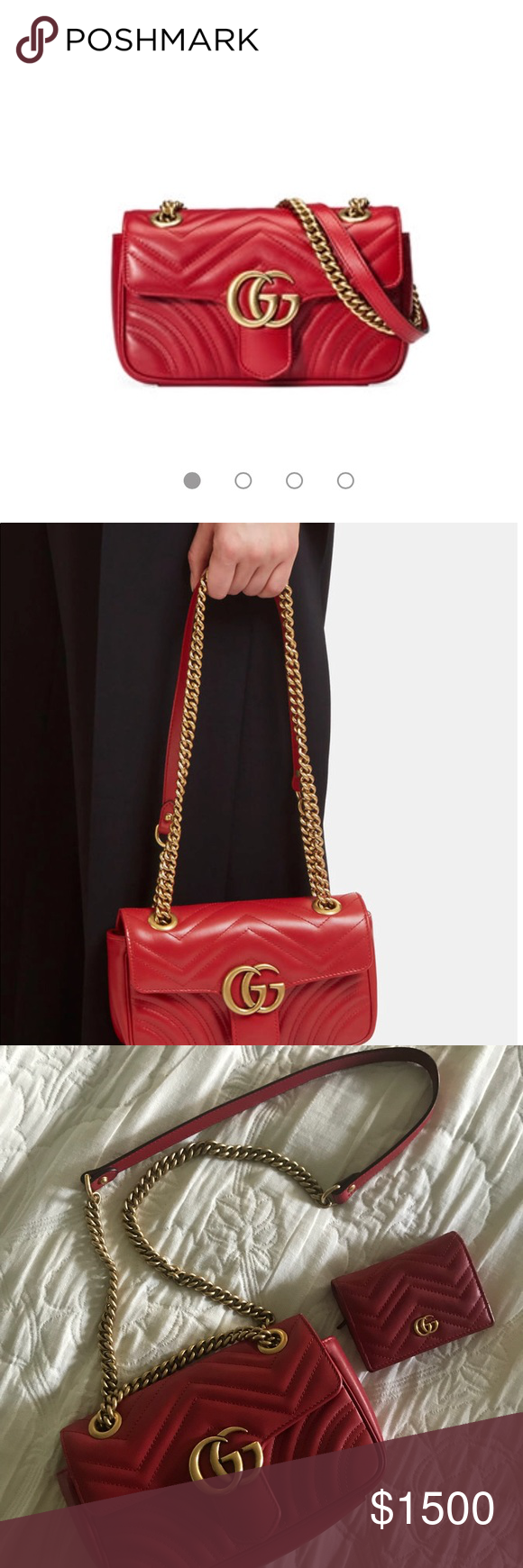 91af07943 Gucci GG Marmont mini bag in hibiscus red Gucci's classic GG Marmont  Matelassé Mini Chain Shoulder Bag with antique gold double GG hardware,  rear stitched ...