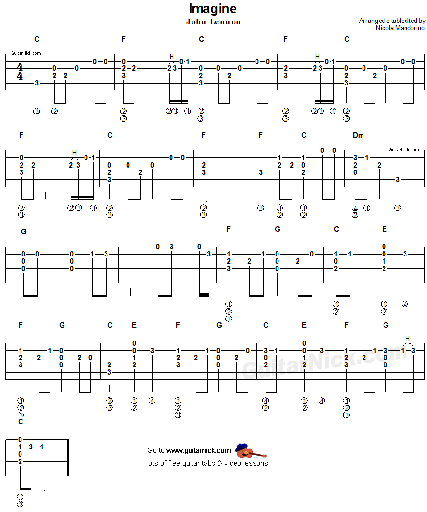 Guitar Chord Tabs: Imagine, John Lennon - Acoustic Guitar Chords