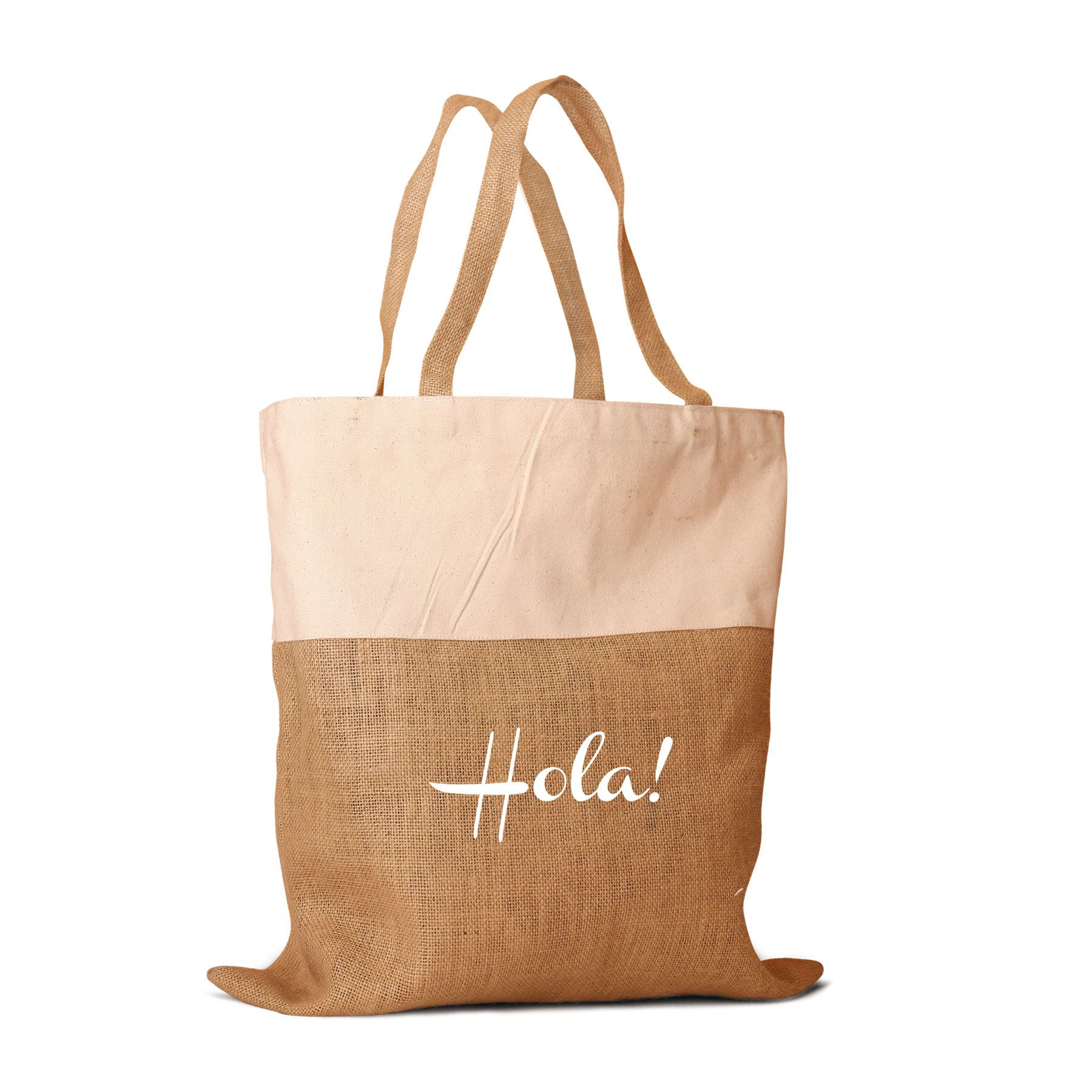 Beautiful Two Tone Jute And Cotton Combination Tote Bag With Hola Print For Wedding Guest Gift Bags All Natural In Color Webbed Handles
