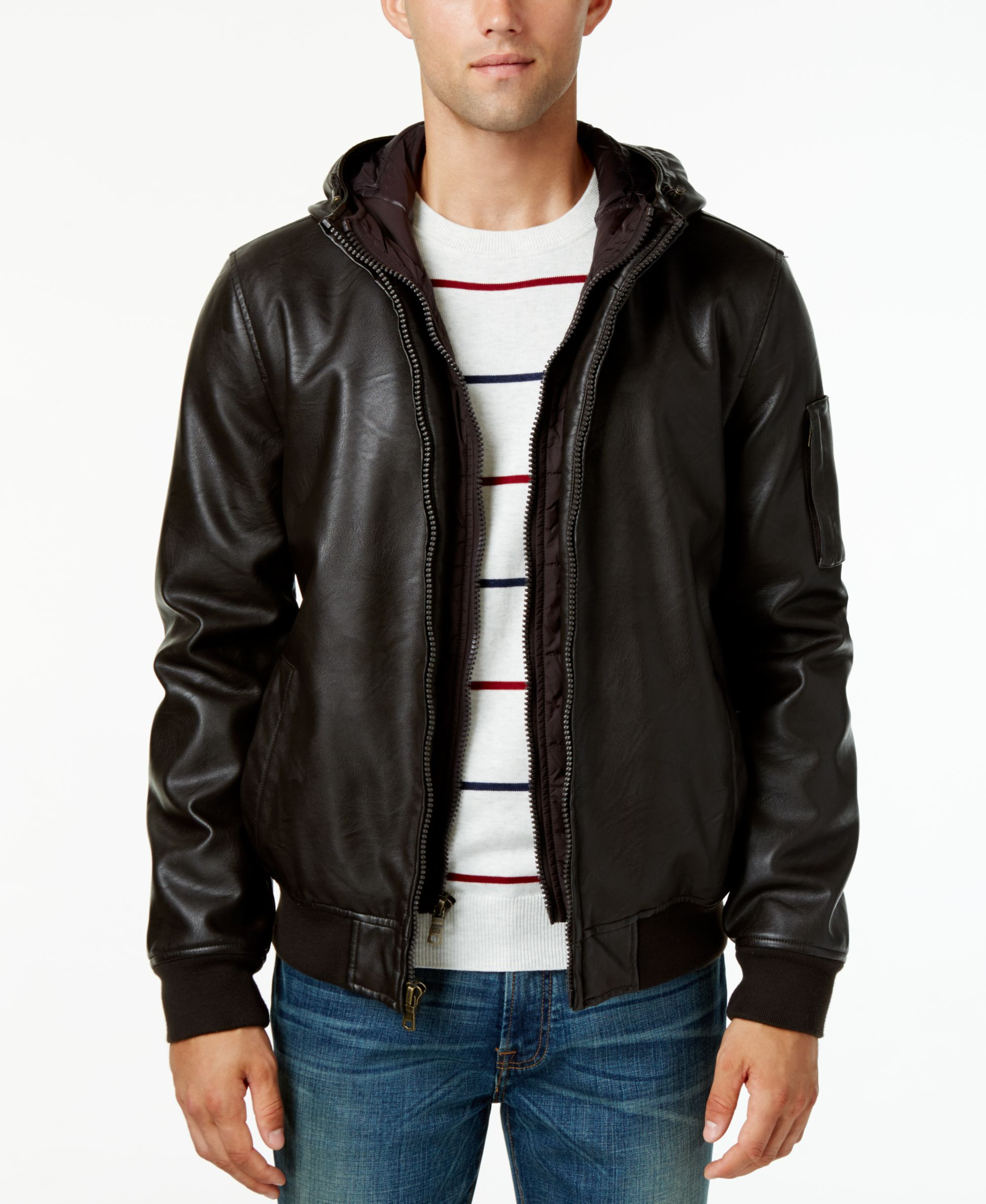 Tommy Hilfiger Big & Tall Men's Hooded Faux-Leather Bomber Jacket ...