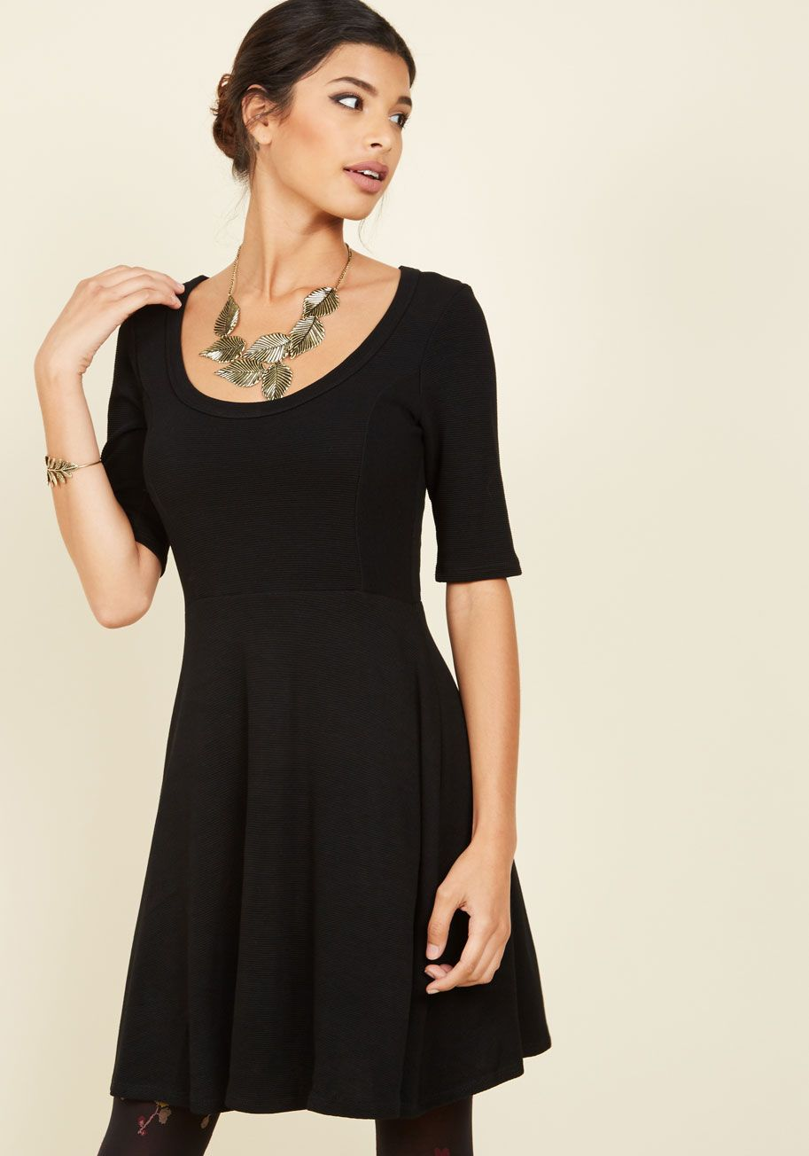 A Chance to Charm A-Line Dress. There's no finer canvas to express your style prowess than this black knit dress. #black #modcloth