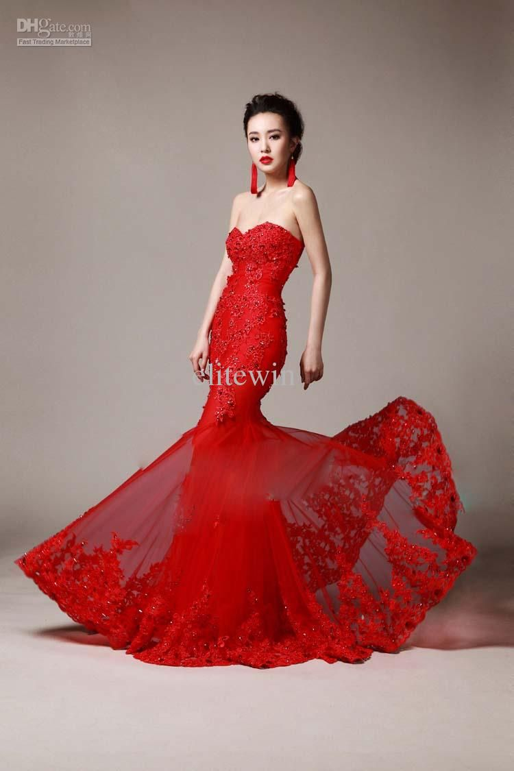 Mermaid Wedding Dress Red Sweetheart Strapless Mermaid Mermaid Evening Dresses Long Bridal Gown Backless Homecoming Dresses [ 1125 x 750 Pixel ]