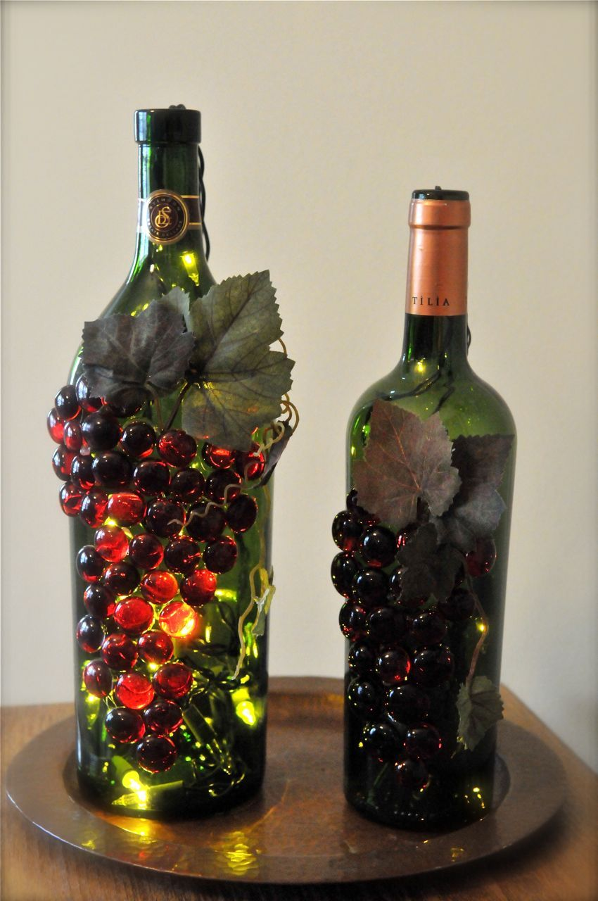 Craft lights for wine bottles - Handmade Grape Wine Bottle Nightlights