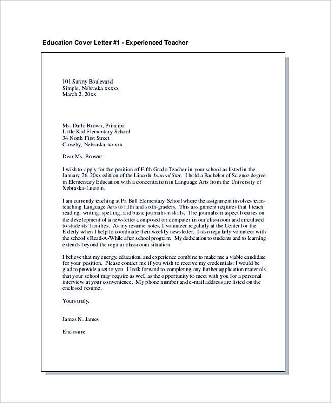 How To Make A Good Cover Letter Education Cover Letter For Experienced Teacher  Teaching Cover .