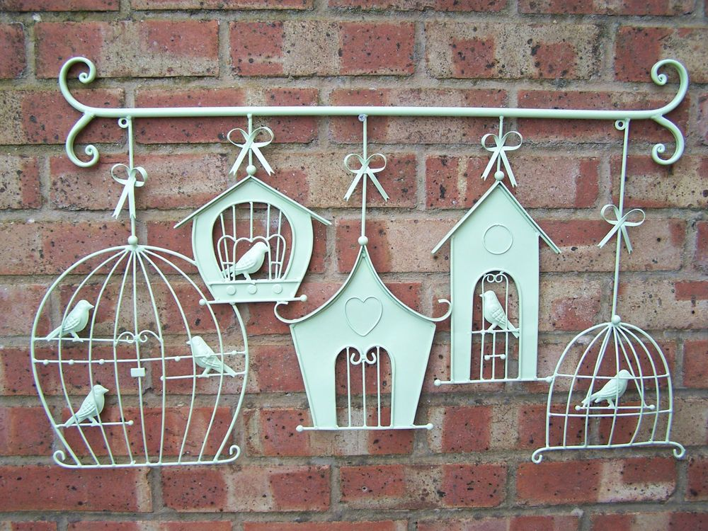 New Large Metal Hanging Birdcage And Birdhouse Wall Art Indoor Outdoor
