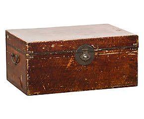 Baule antico da viaggio in olmo e pelle - 74x35x49 cm