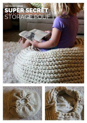 Free Crochet Floor Pouf Pattern Crochet Baskets Great Idea
