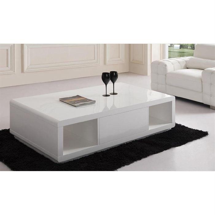 table basse design blanc laqué pivotante avec système audio steven