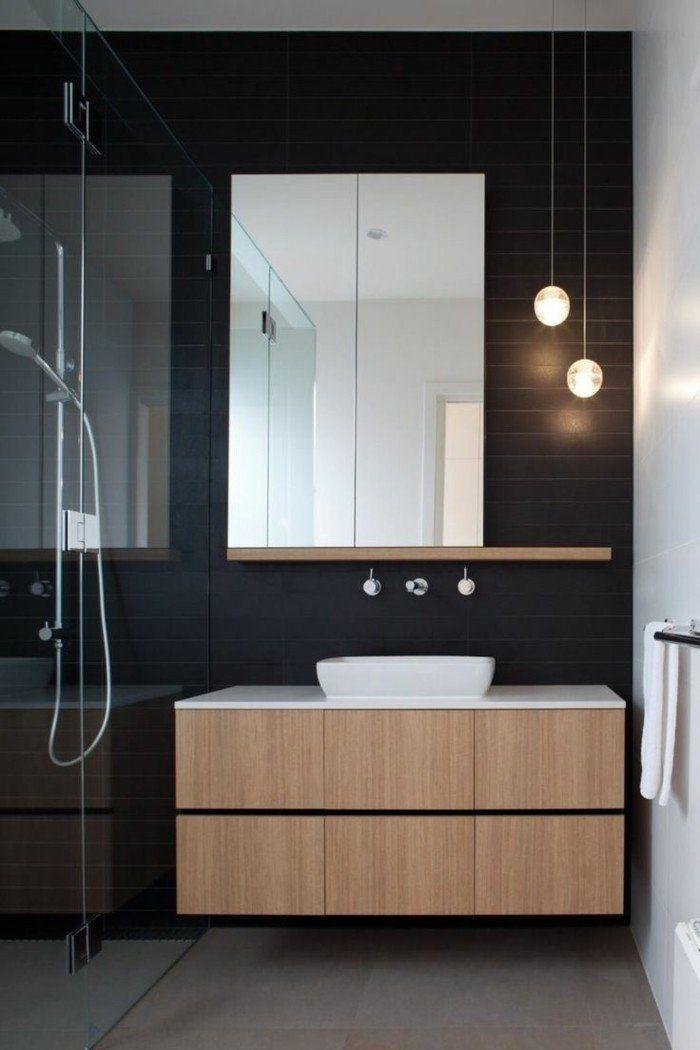meuble salle de bain noir bois