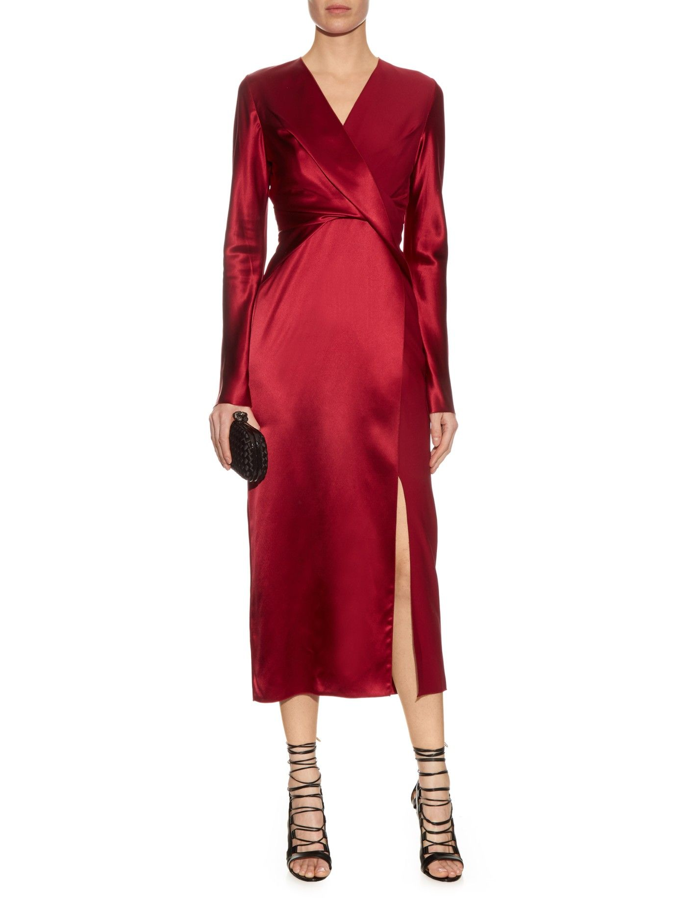 Long-sleeved silk-satin dress | Dion Lee | MATCHESFASHION.COM UK ...