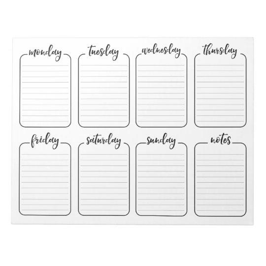 Weekly Planner Simple White Note Pad Calendar, Bloc de notas de 40 páginas (11