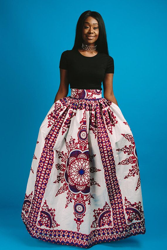 53b7720312 African print maxi skirt 2 side pockets elastic at the back Made with 100%  cotton high quality Skirt is approx 46 inches long THIS ITEM WILL BE  SHIPPED OUT ...