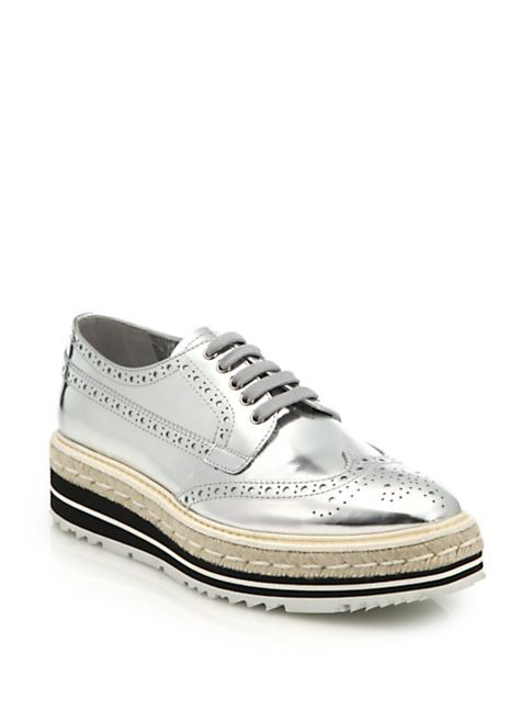 Sneakers - Oxford Lace Up Silver - silver - Sneakers for ladies Prada ga4DbWx