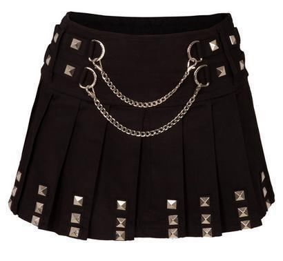 Jawbreaker Black Biker Mini Silver Chained Skirt Studs Goth Punk Rock | eBay