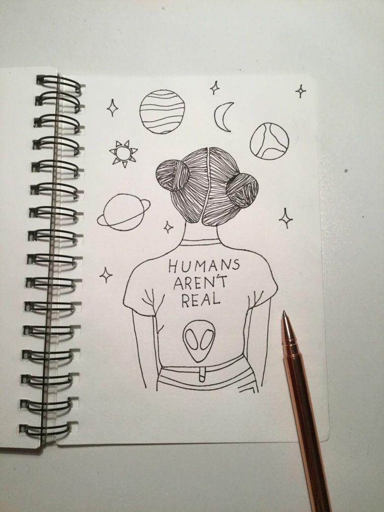 Quaderno Ad Anelli Disegno Di Una Ragazza Sistema Solare Disegnato Disegni Di Tumblr Schizzi Disegni A Matita Facili