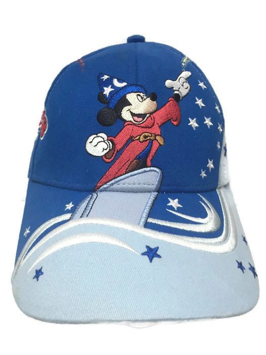 9ed32195612 Walt Disney World Mickey Mouse Sorcerer Baseball Cap Youth Blue Kids Velcro  Back