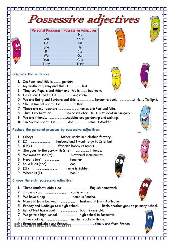 Printable Worksheets possessive adjective worksheets : Adjectives | FREE ESL worksheets | Spanish | Pinterest ...