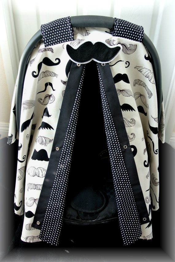 carseat canopy car seat cover mustache black and white polka dots Alexander Henry baby car seat bows baby girl baby boy infant boy on Etsy ... & carseat canopy car seat cover mustache black and white polka ...